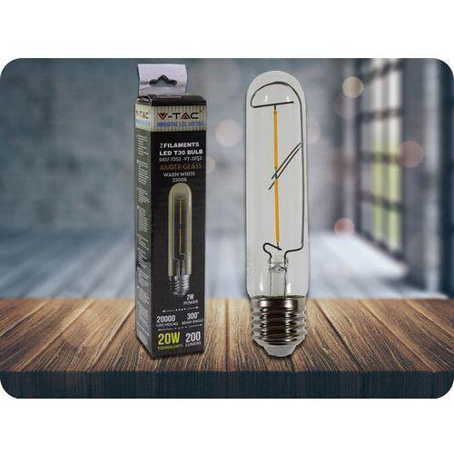 V-tac E27 led retro filament żarówka 2w, t30 + bezpłatna natychmiastowa gwarancja wymiany!