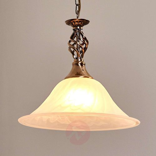 Mosiężna lampa wisząca CAMEROON, 1-punktowa, kolor patyna,