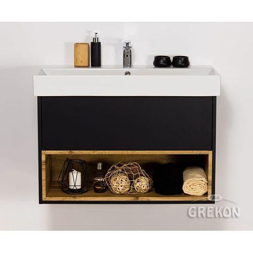 Czarna matowa szafka łazienkowa z umywalką 85/43 Space Gante