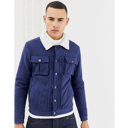 Another influence faux suede jacket with borg collar - navy