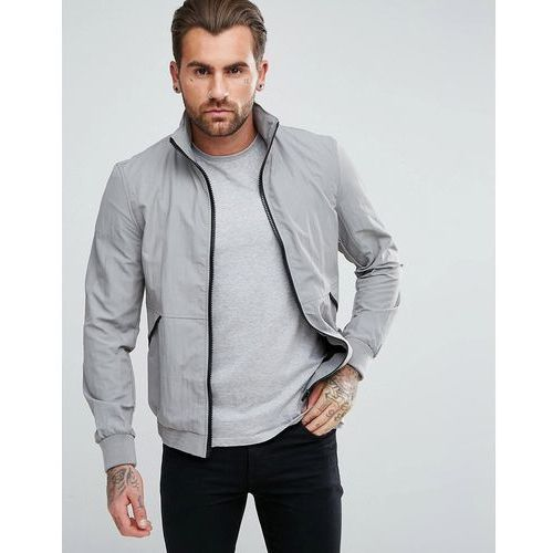 funnel neck harrington with concealed hood in stone - stone, River island
