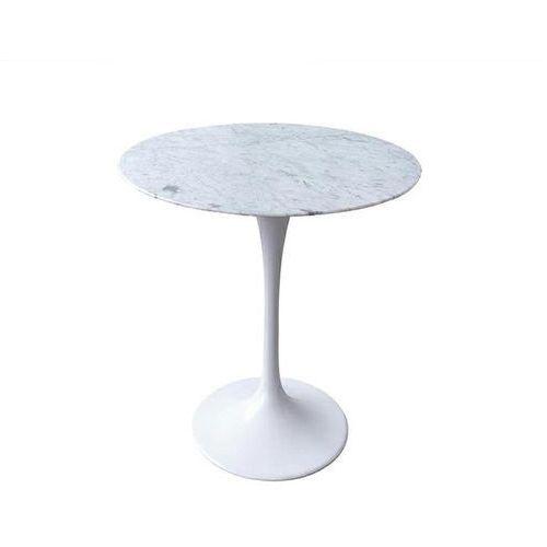 Stolik TULIP MARBLE MINI biały - blat okrągły marmurowy, metal (5900000050225)