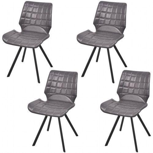 Krzesło do jadalni obite ekoskórą 4 szt, szare