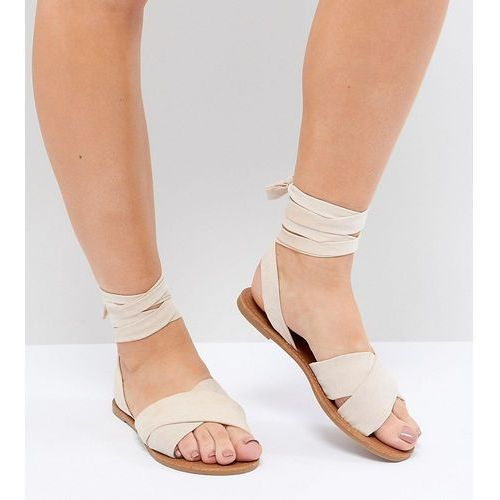 Park lane wide fit tie leg flat sandals - beige