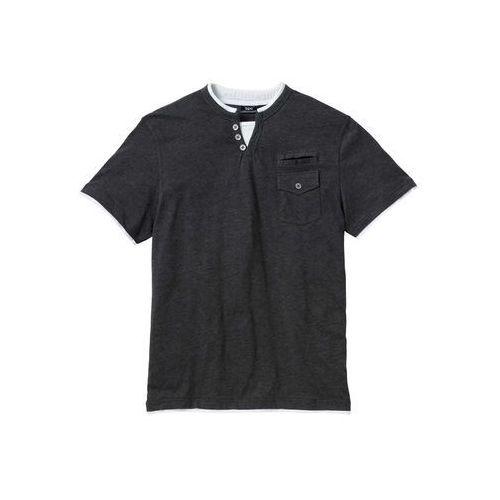 T-shirt Regular Fit bonprix antracytowy melanż, kolor szary