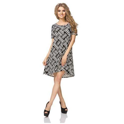 Czarno Białą Sukienka Trapezowa z Krótkim Rękawem, T188blwh
