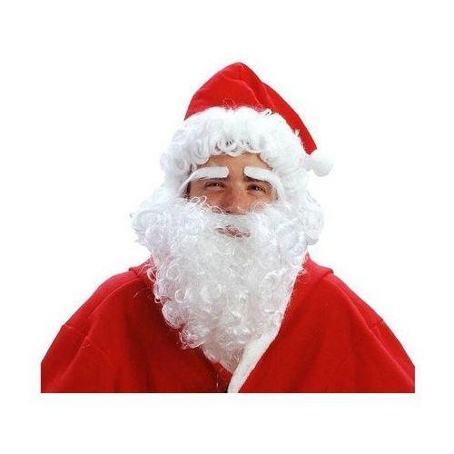 Peruka Mikołaj z brodą, brwiami i czapką.