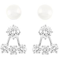 Swarovski Attract Pearl Pierced Earrings Jacket Set White Rhodium-plated