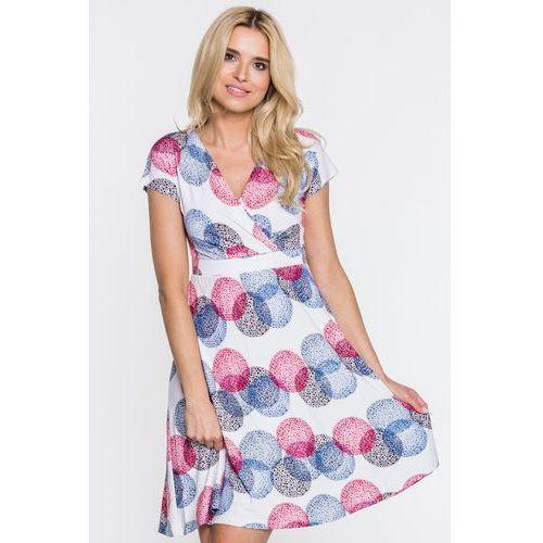 Kopertowa sukienka w grochy - Ryba, kolor biały