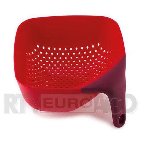 Średni, kwadratowy durszlak z silikonową rączką JJ 40060 czerwony Plus (5028420400601)