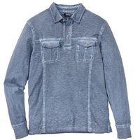 Bonprix Shirt polo z długim rękawem, z efektem wytarcia ciemnoniebieski