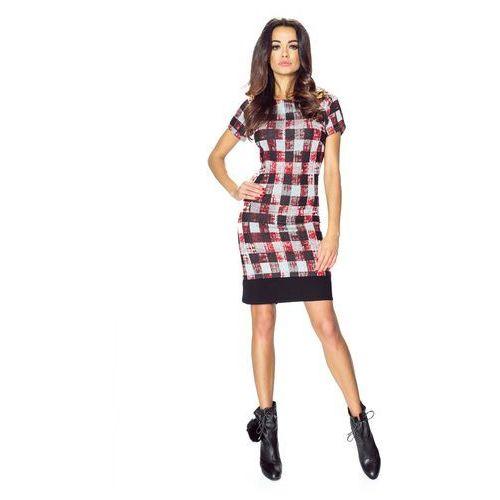 Sukienka we Wzory z Czarnym Obszyciem - Czerwona Kratka, w 3 rozmiarach
