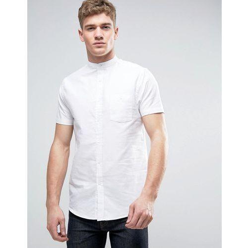 Brave soul  oxford grandad short sleeve shirt with pocket - white