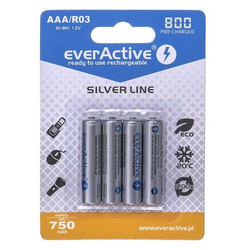 Akumulatorki EVERACTIVE Ni-MH R03 AAA 800 mAh Silver Line (4 szt.), 4xEVHRL03-800