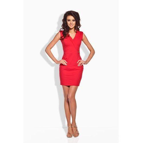 Czerwona Sukienka z Kopertową Górą, kolor czerwony