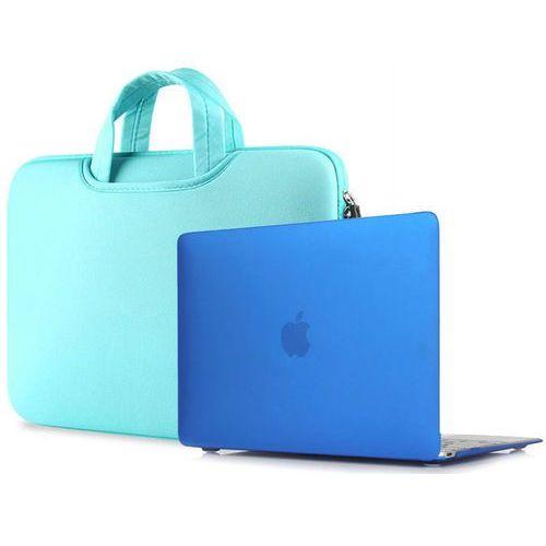 Torba pokrowiec neopren +etui hard case macbook air 13 niebieski - niebieski marki 4kom.pl
