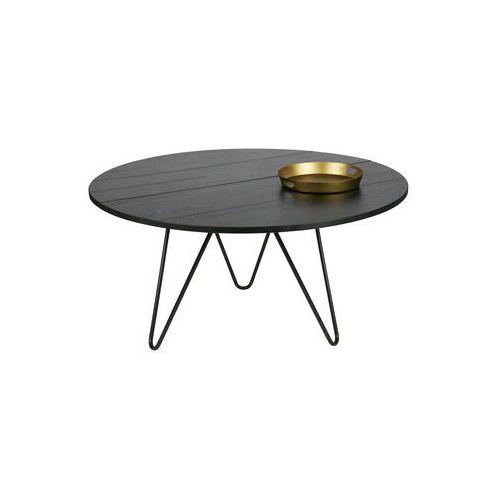 okrągły dębowy stolik czarny - woood 387662-bn marki Woood