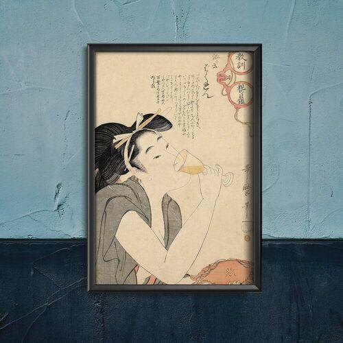 Plakat vintage do salonu plakat vintage do salonu kobieta pije wino kitagawa utamar marki Vintageposteria.pl