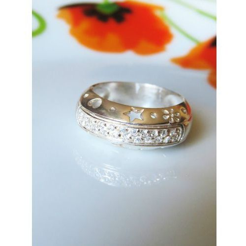 Srebrny pierścionek WYPUKŁY z cyrkoniami r. 15