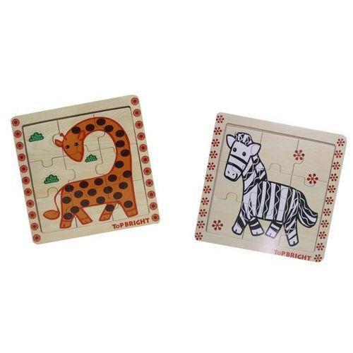 Playme Układanka drewniana mała żyrafa lub zebra 9 elementów (5907791572479)