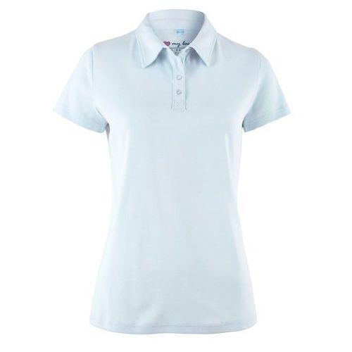 Shirt polo z krótkim rękawem bonprix niebieski topaz, w 2 rozmiarach
