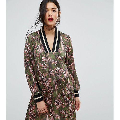 Asos maternity  satin v neck shift dress with jersey ribbing in floral print - multi