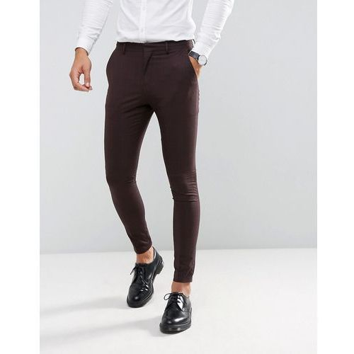 super skinny suit trousers in burgundy check - red, Selected homme