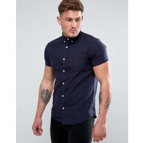 River island  regular fit oxford shirt with short sleeves in navy - navy