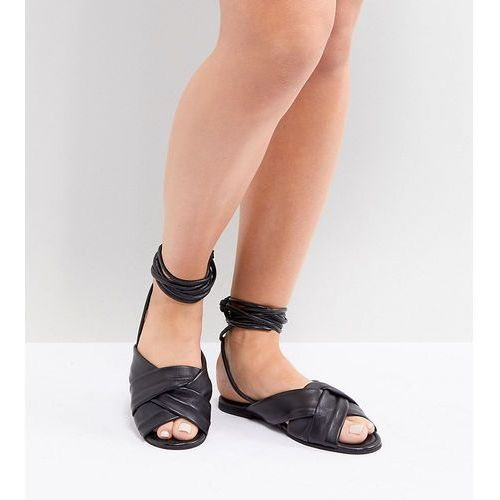ASOS DESIGN Wide Fit Valley leather knotted tie leg flat sandals - Black, kolor czarny