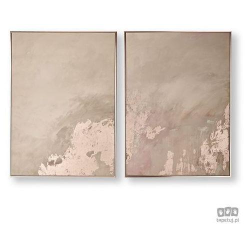 Obraz 2-częściowy w ramie abstrakcja - różowe złoto 105877 marki Graham&brown