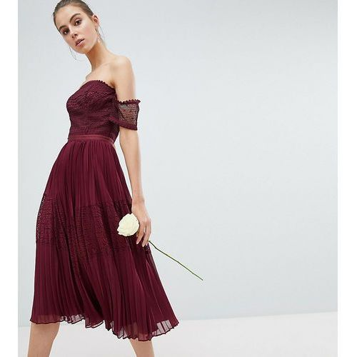 Asos design tall bridesmaid premium guipure lace panelled midi dress - red marki Asos tall