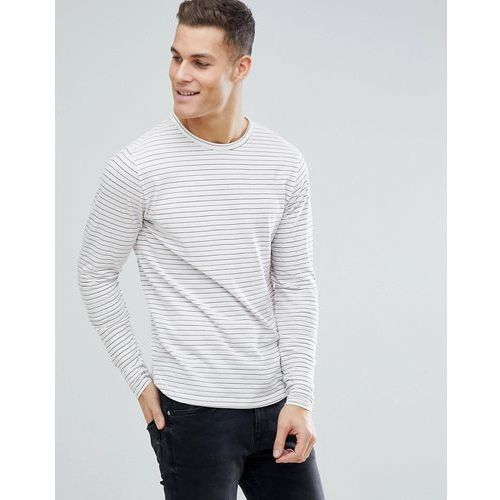 Bellfield Long Sleeve T-Shirt With Red Stripe - Cream