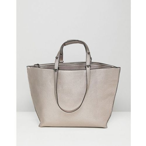 ASOS Metallic Structured Shopper Bag With Extendable Handle - Silver