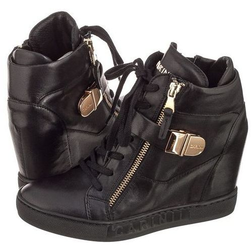 Sneakersy czarne licowe gładkie b4095 (ci258-d) marki Carinii