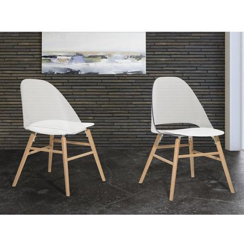 Beliani Krzesło przeźroczysto-białe - krzesło do jadalni, kuchni - krzesło kubełkowe - milford
