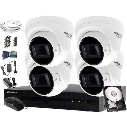 Zestaw telewizji przemysłowej do domu, mieszkania, klatki schodowej hwd-7104mh-g2, 4 x hwt-t340-vf, 1tb, akcesoria marki Hikvision hiwatch