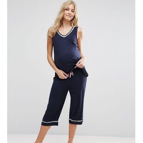 Asos maternity  contrast trim vest & crop trouser pj set - pink
