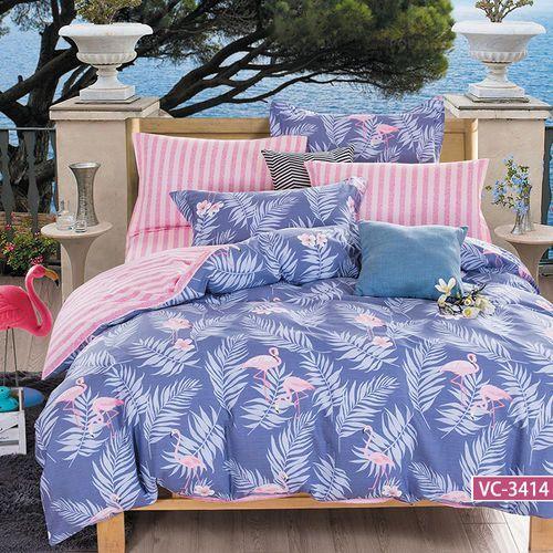 Pościel satynowa 160x200 wzór flamingi i liście na niebieskim plus pasy, 6012