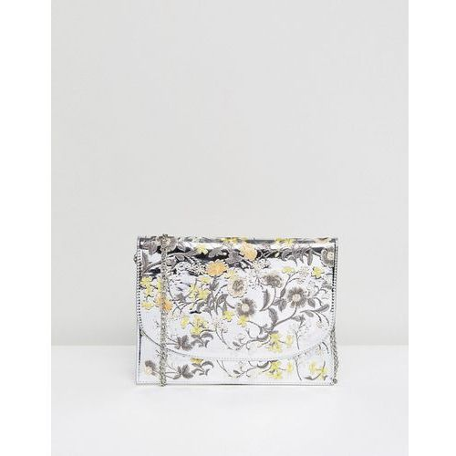 New Look Embroidered Mirror Metallic Clutch Bag - Silver