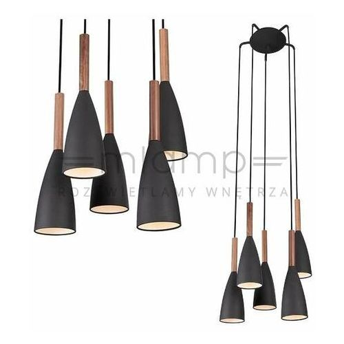 Wisząca lampa ekologiczna soft p0148 bk metalowa oprawa zwis kaskada krople łezki drewno czarne marki Maxlight