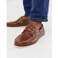 leather boat shoes in tan - brown marki River island