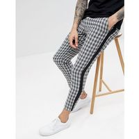 boohooMAN Trousers With Side Stripe In Grey Check - Grey, w 3 rozmiarach