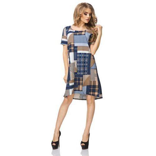 Sukienka Trapezowa z Krótkim Rękawem Wzór - Patchwork, T188patchwork