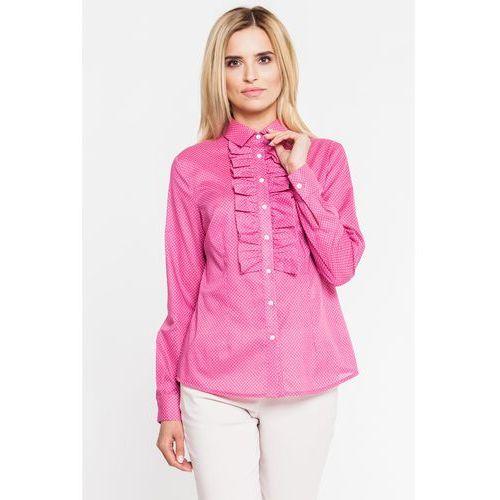 Różowa koszula w groszki z żabotem - Duet Woman, kolor różowy