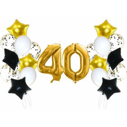 Party deco Zestaw balonów na czterdziestkę złoto-czarny - 21 szt.