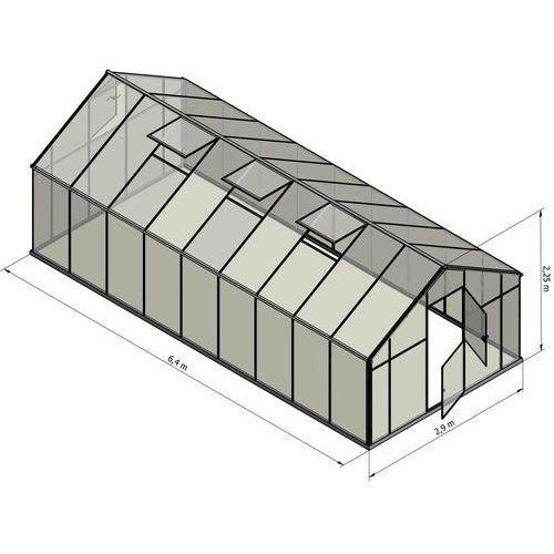 Emaga Szklarnia sanus xl-18 wymiar 2,9x6,4m h=2,25cm 18,6m2 szkło hartowane 4mm