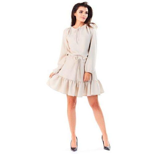 Beżowa Sukienka z Falbanką Wiązana przy Dekolcie, kolor beżowy