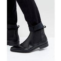 Dune Chelsea Boots In Black Leather - Black, kolor czarny
