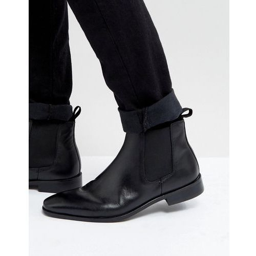 chelsea boots in black leather - black, Dune