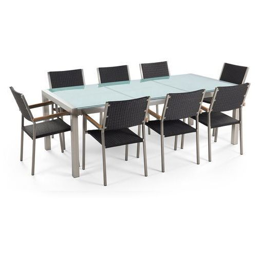 Beliani Stół szklany - do ogrodu - 220 cm - z 8 krzesłami z rattanu - grosseto